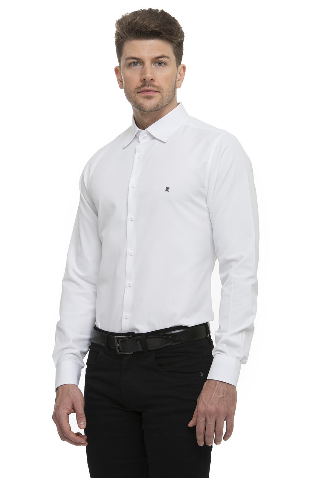 Camisa Social Fit Zaiko Maquinetada Manga Longa 2652