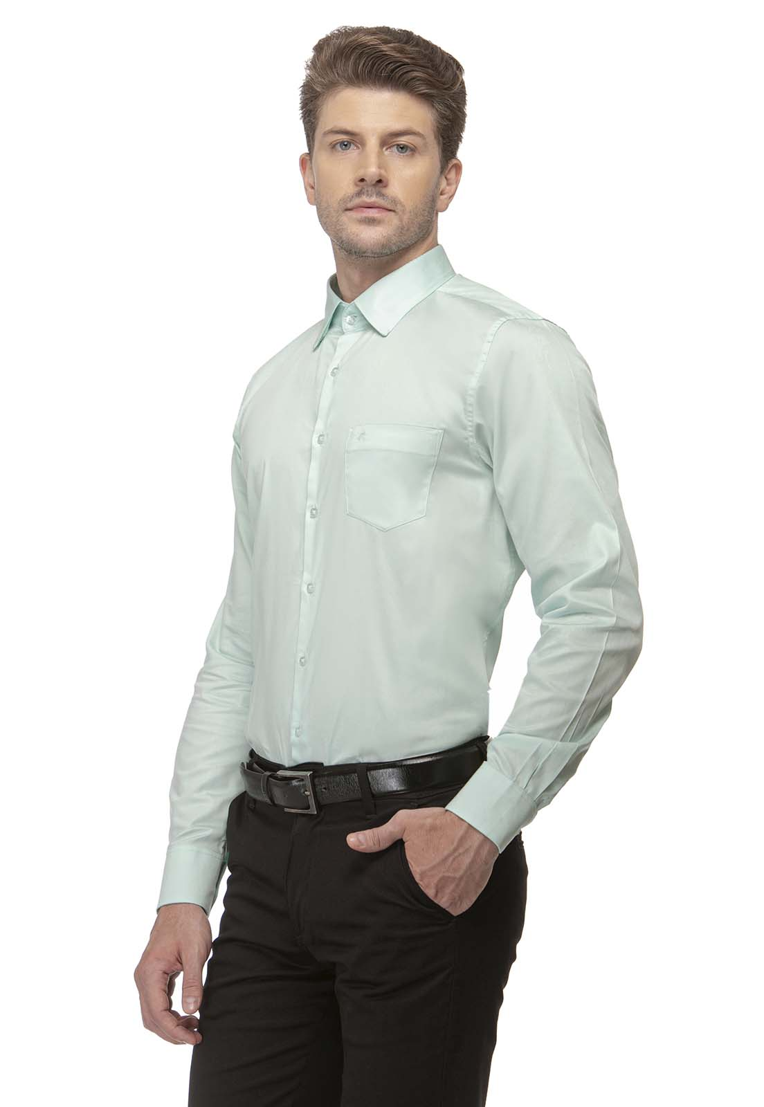 Camisa Social Slim Zaiko Cetim Manga Longa 2585