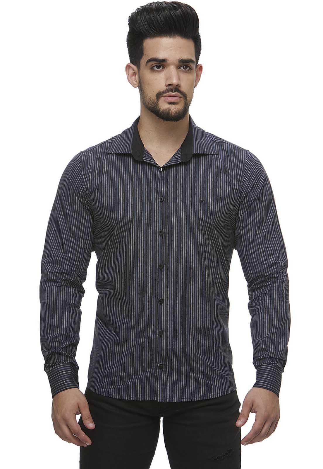 Camisa Zaiko Masculina Listrada Chumbo Manga Longa Única (0998unica)