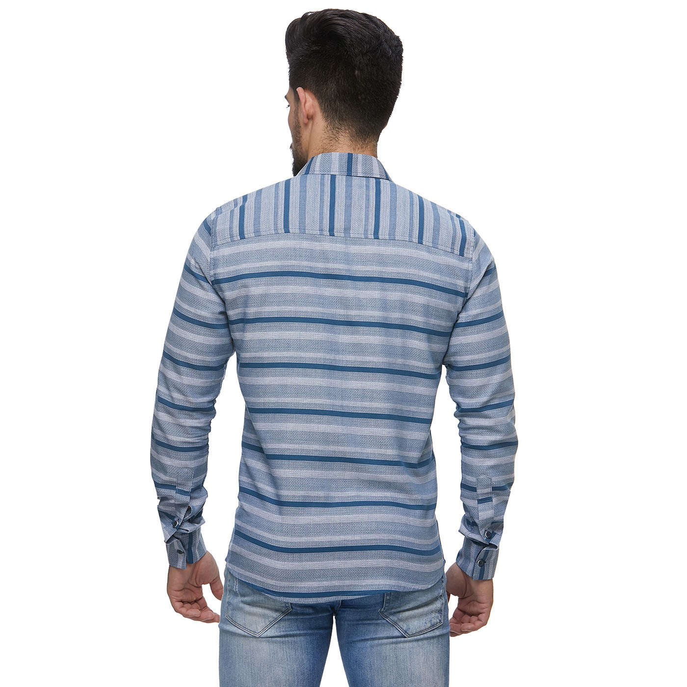 Camisa Zaiko Masculino Black Friday Listrada Cinza/Azul Manga Longa Única (0989unica)