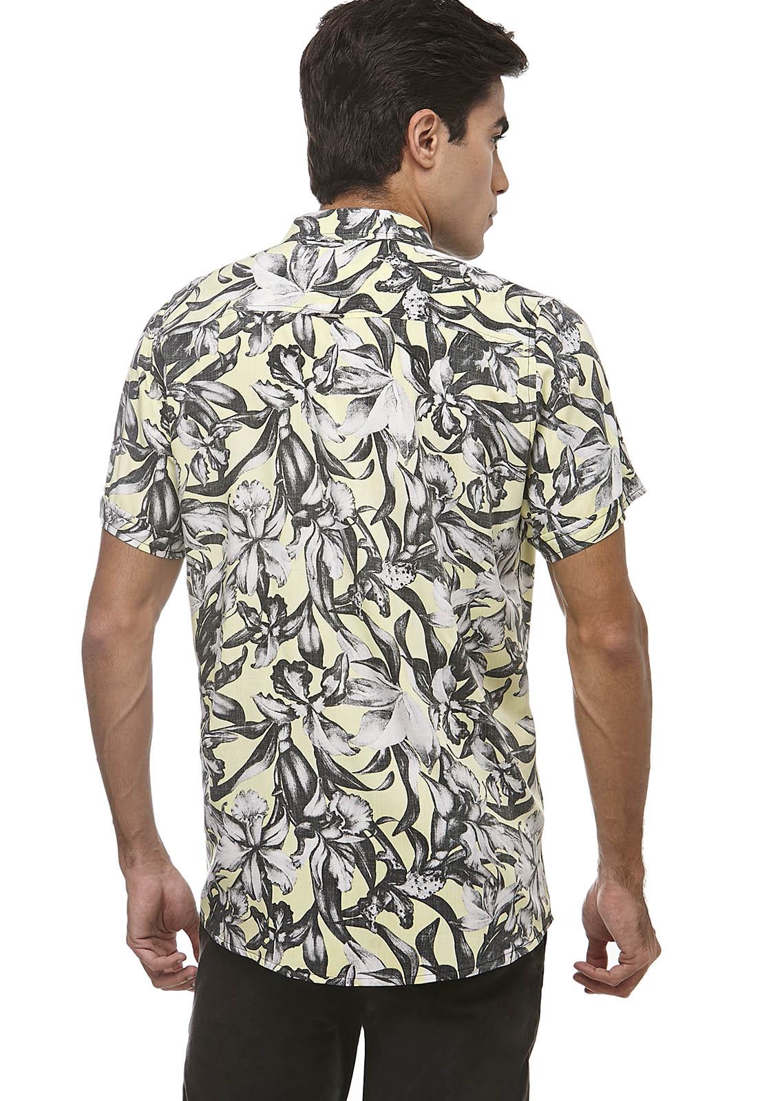 Camisa Zaiko Slim Estampada Manga Curta 1860 Amarelo