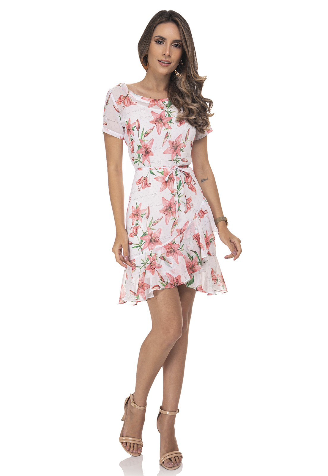 Vestido Chemise Evasê Transpassada Zaiko Estampada Floral Manga Curta 2427