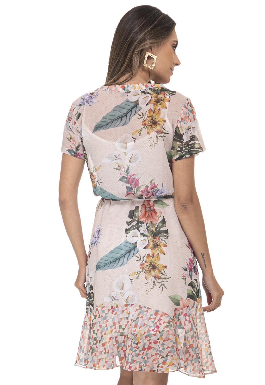 Vestido Chemise Zaiko Estampada Floral 2174