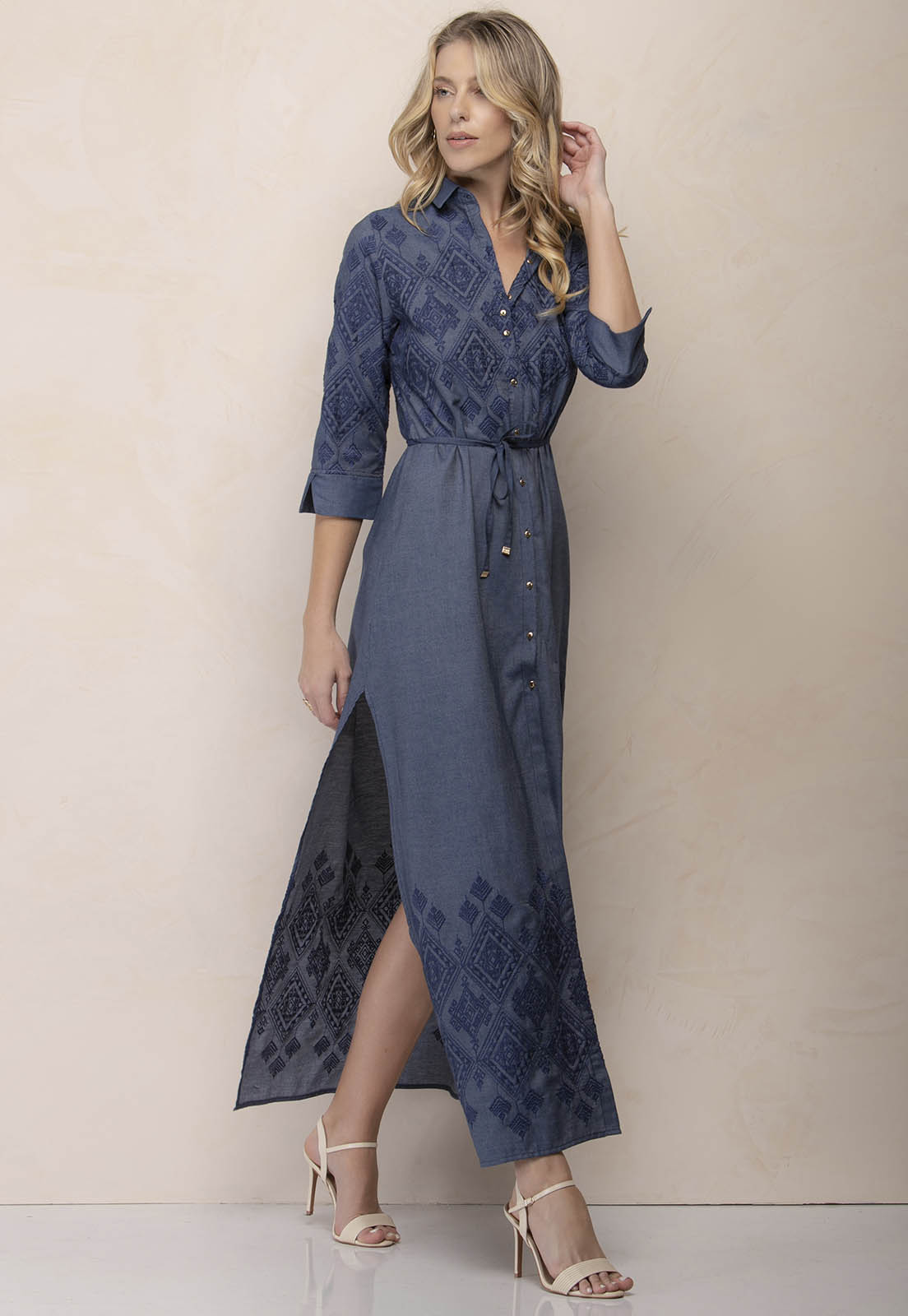 Vestido Jeans Shirtdress Bordado Zaiko 2526