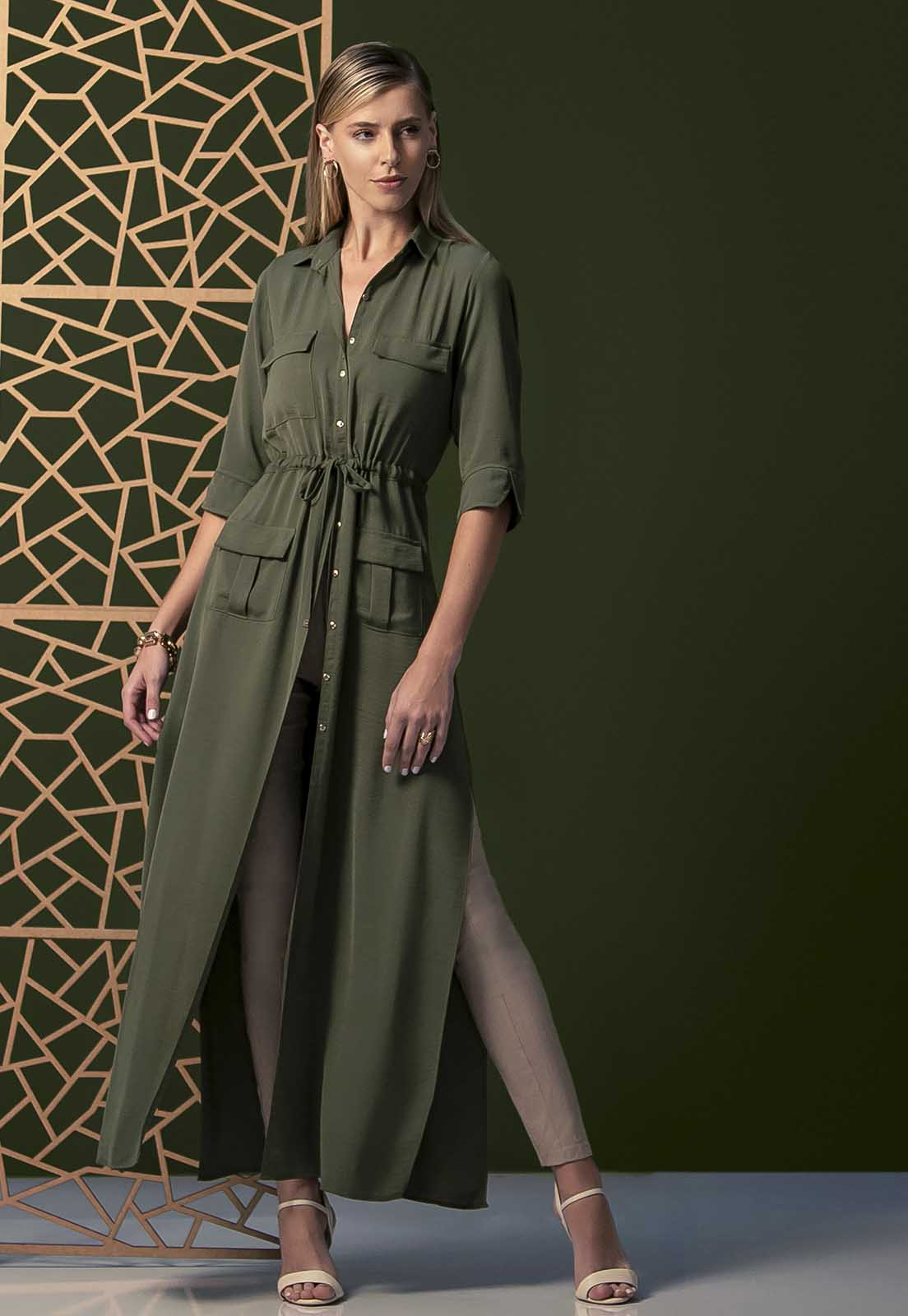 Vestido Shirtdress Zaiko Militar 2538