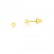 Brinco de Ouro Feminino Bolinha 2 mm Infantil Ouro 18k