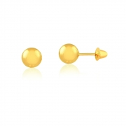 Brinco de Ouro Feminino Bolinha 4 mm Ouro 18k
