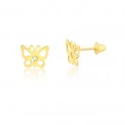 Brinco de Ouro Feminino Borboleta com Zircônia Ouro 18k