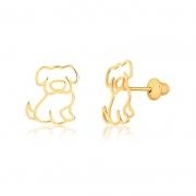 Brinco de Ouro Feminino Cachorro Doguinho Ouro 18k
