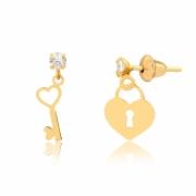 Brinco de Ouro Feminino Chave e Cadeado Coração Ouro 18k