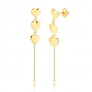 Brinco de Ouro Feminino Corações com Corrente Veneziana 18k