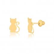 Brinco de Ouro Feminino de Gato Gatinho Pet Ouro 18k
