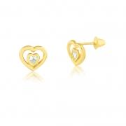 Brinco de Ouro Feminino Dois Corações Zircônia Ouro 18k