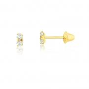 Brinco de Ouro Feminino Duas Zircônias Brancas 1,75 mm