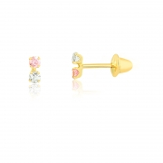 Brinco de Ouro Feminino Duas Zircônias Rosa Branca 1,75 mm