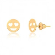 Brinco de Ouro Feminino Emoji Apaixonado Ouro 18k