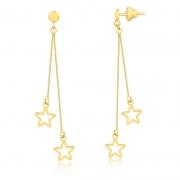 Brinco de Ouro Feminino Estrelas Corrente Veneziana Ouro 18k