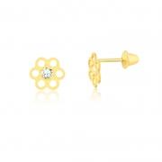 Brinco de Ouro Feminino Flor Zircônia 2,25 mm Ouro 18k