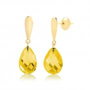 Brinco de Ouro Feminino Gota Citrino Pedra Natural Ouro 18k