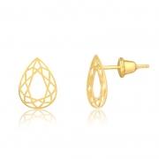 Brinco de Ouro Feminino Gota Geométrica Lapidada Ouro 18k