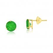 Brinco de Ouro Feminino Jade Verde Natural Ouro 18k