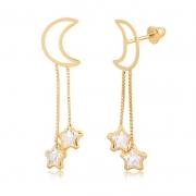 Brinco de Ouro Feminino Lua e Estrelas com Zircônia Ouro 18k