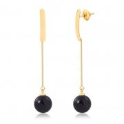 Brinco de Ouro Feminino Quartzo Negro Pendurado em Ouro 18k