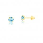 Brinco de Ouro Feminino Zircônia Azul 2,5 mm Ouro 18k