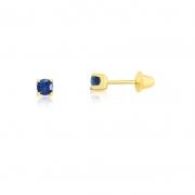 Brinco de Ouro Feminino Zircônia Azul Escuro 2,5 mm Ouro 18k