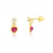 Brinco de Ouro Feminino Zircônia Coração Vermelha e Branca
