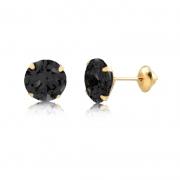 Brinco de Ouro Feminino Zircônia Preta 6 mm Ponto de Luz