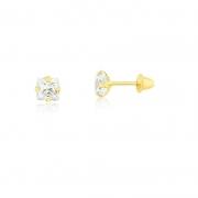 Brinco de Ouro Feminino Zircônia Quadrada 4,4 mm Ouro 18k