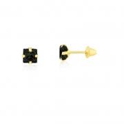 Brinco de Ouro Feminino Zircônia Quadrada Preta Ouro 18k