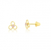 Brinco de Ouro Feminino Zircônia Rosa Círculo Ouro 18k