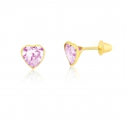 Brinco de Ouro Feminino Zircônia Rosa Coração Ouro 18k