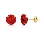 Brinco de Ouro Feminino Zircônia Vermelha 6 mm Ponto de Luz