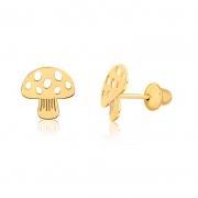 Brinco de Ouro Infantil Cogumelo em Ouro 18k