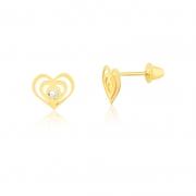 Brinco de Ouro Infantil Corações com Zircônia Ouro 18k