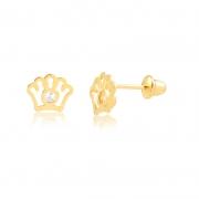 Brinco de Ouro Infantil Coroa e Zircônia em Ouro 18k