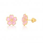 Brinco de Ouro Infantil Flor Sakura Rosa Ouro 18k