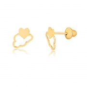Brinco de Ouro Infantil Nuvem com Coração em Ouro 18k