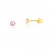 Brinco de Ouro Infantil Ponto de Luz Rosa 3 mm Ouro 18k