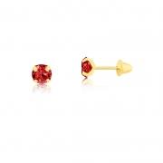 Brinco de Ouro Infantil Ponto de Luz Vermelho 3 mm Ouro 18k