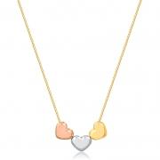 Colar de Ouro Feminino Três Corações Branco Rosé Ouro 18k