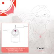 Colar de Prata Feminino Zircônia Vermelha Coração Prata 925
