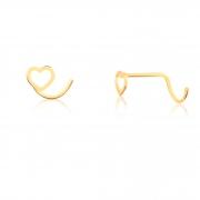 Piercing de Ouro Feminino Coração Vazado Piercing Nostril