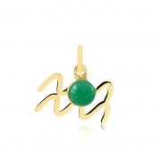 Pingente de Ouro Aquário Símbolo do Signo com Jade Verde