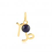 Pingente de Ouro Capricórnio Símbolo do Signo com Ônix