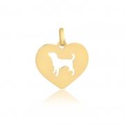 Pingente de Ouro Coração Cachorro Vazado Joia Pet Ouro 18k