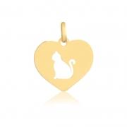 Pingente de Ouro Coração Gato Vazado Gatinho Ouro 18k